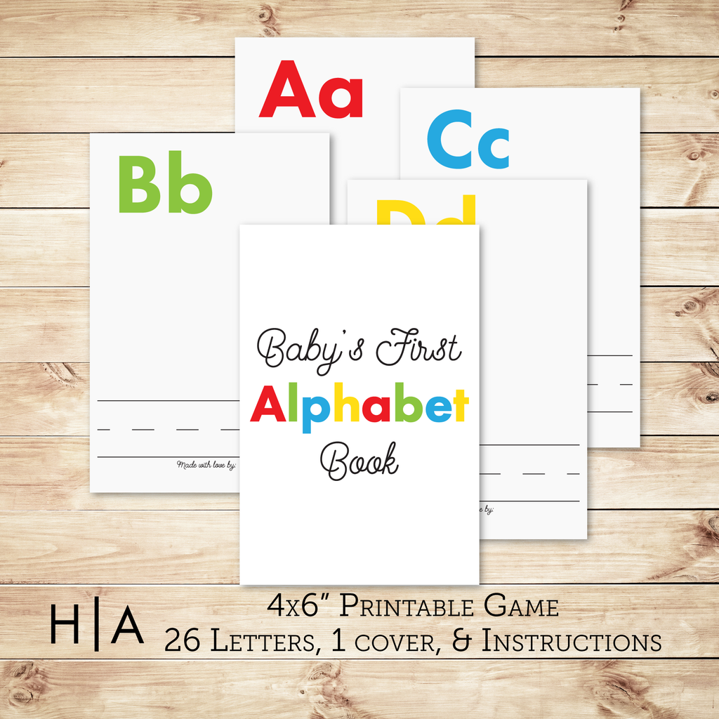 baby shower alphabet book instructions